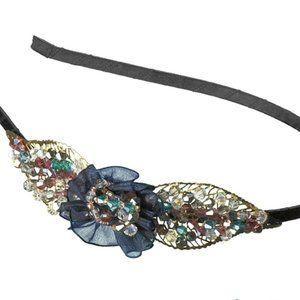 X Elle beaded crystal filigree leaf headband